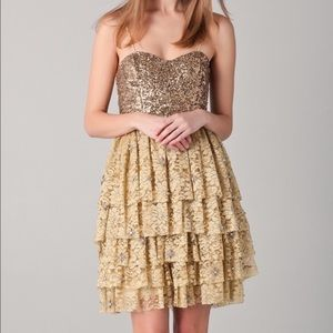 Alice + Olivia Lucille beaded sequin gold lace 6